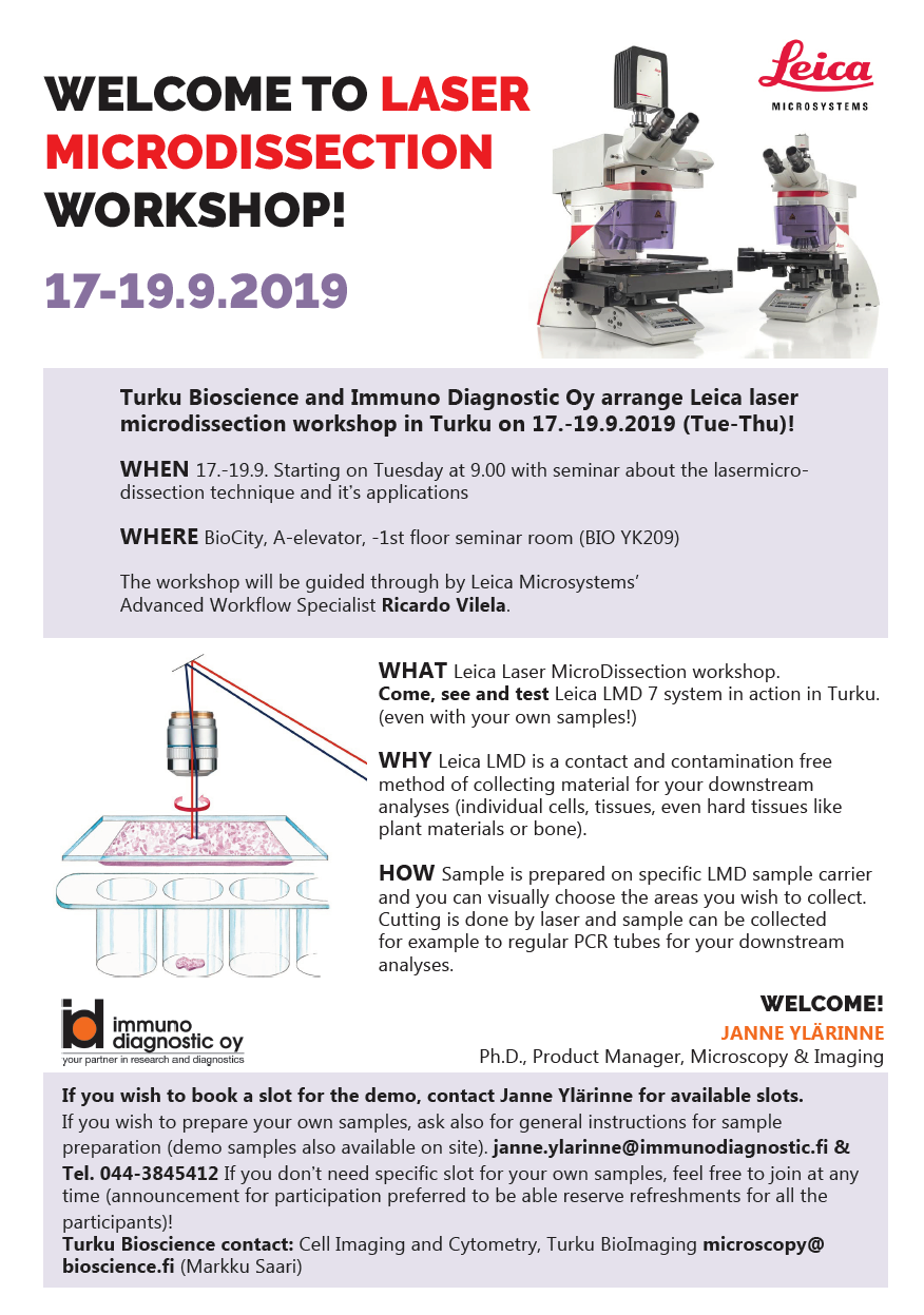Workshop: Laser capture microdissection on Sept. 17th – 19th